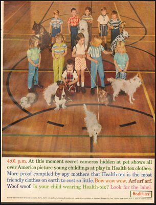 1960's Vintage ad for Health-tex clothes`retro fashion children gym dogs (092718