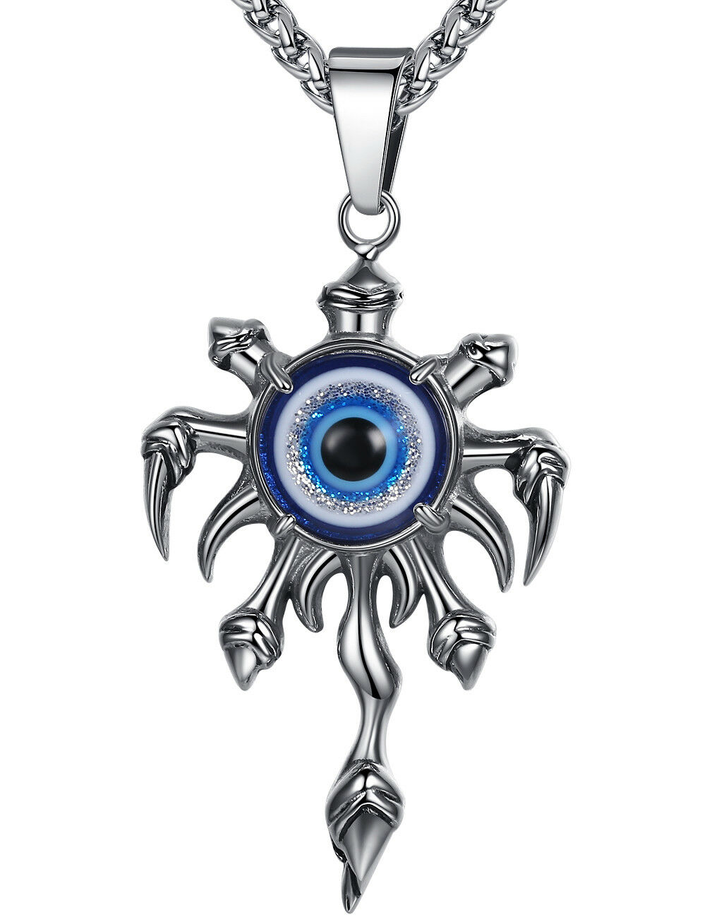 Men's Stainless Steel Blue Evil Eye Claw and Flame Biker Pendant Necklace Chains, Necklaces & Pendants