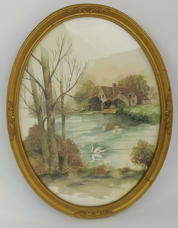 """Vintage Homco 17"""" Oval Gold Frame w/Country Scene 1982 Cottage Lake House Print"""