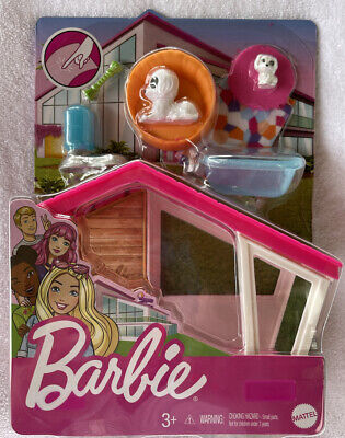 Barbie Indoor Furniture Dog House & Accessories Set 2 Puppies Water Bowl Rug +