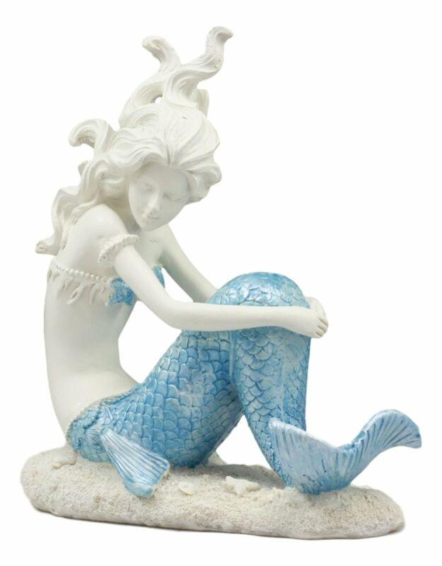 """Ebros Lovesick Mermaid Sitting On Ocean Floor Statue 6.5"""" Tall Mermaid Figurine"""