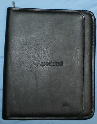 Leeds Black Leather Associated Bank 8.5 X 11 Notepad Binder Planner Padfolio