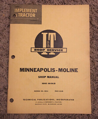 1955 Minneapolis Moline Tractor Series Gb Ub Zb Shop Manual Mm-6