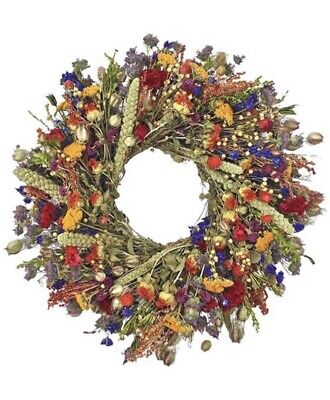 """22"""" Colorful Dried Flower Wreath Natural Home Decor Summer Fall Round Wreath"""