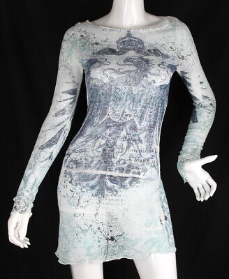 *Code Vintage* Blue Sheer Dress Womens Clothing Fashion (S) *Dressy *Casual - Blue Code Clothing