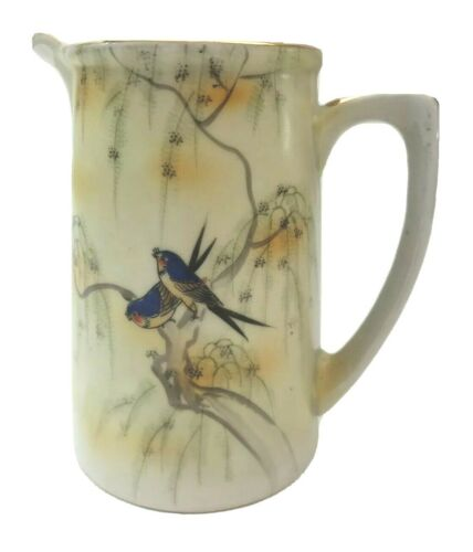 S&K Nippon Saji & Kariya Japan Hand Painted Eggshell Porcelain Pitcher Birds