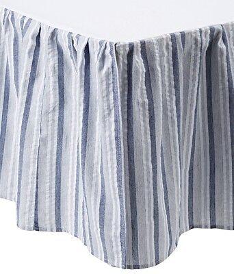 Striped Twin Dust Ruffle (NANTUCKET STRIPED Twin Queen or King BEDSKIRT : BLUE WHITE STRIPES DUST RUFFLE )