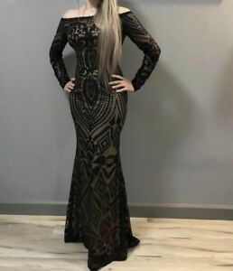 Sequined evening black gown