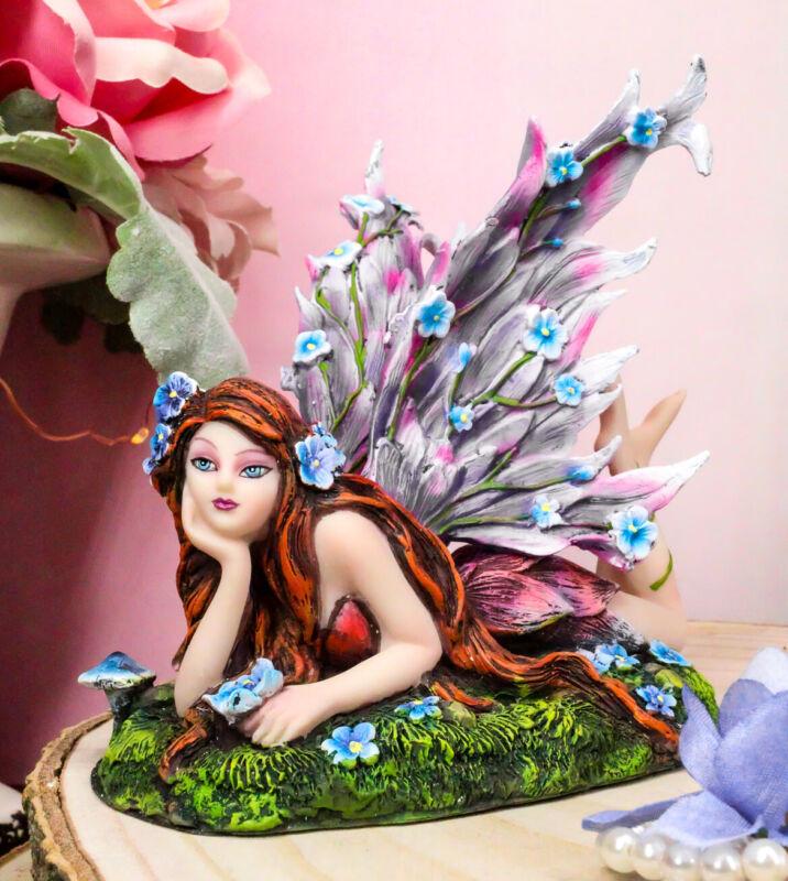 Ebros Enchanted Garden Meadows Blue Peony Fairy Purple Wings Sunbathing Figurine