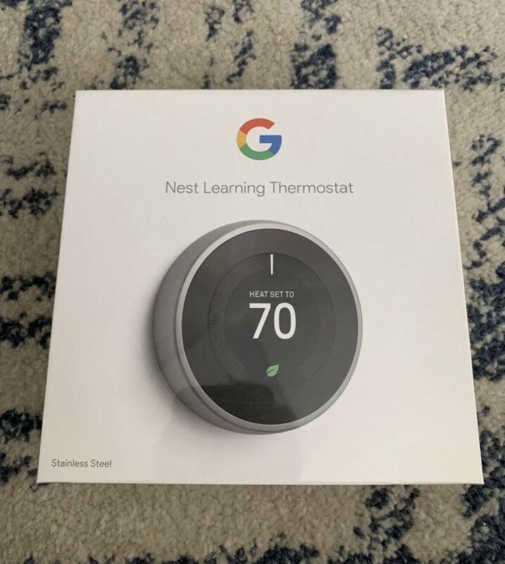 Google Nest 3rd Gen Thermostat T3007ES Stainless Steel BRAND NEW