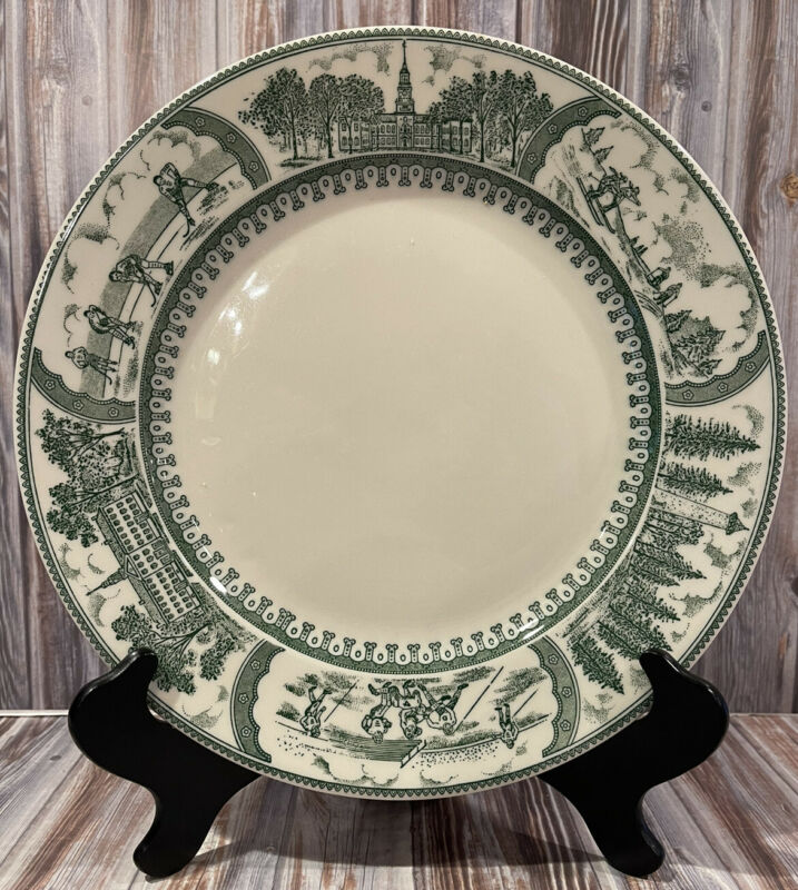 Vintage Shenango China Dartmouth College Picturesque Dinner Plate Green