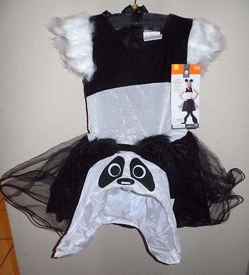 girls NEW NWT PANDA BLACK HALLOWEEN COSTUME DRESS LEGGINGS HAT small 4-6X furry!