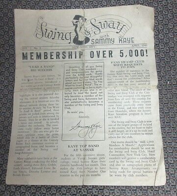 SAMMY KAYE SWING & SWAY FAN CLUB NEWS LETTER APRIL 1940 BIG BAND