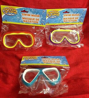 Splash N Swim Child Size 6+ Goggles Swim Mask Beach Pool Summer Fun -3 Colors