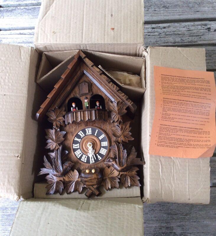 Vintage German Bird Leave Cuckoo Clock New