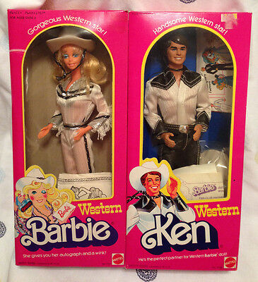 Vintage WESTERN Barbie & Ken Dolls 1980 - RARE Ken NRFB Barbie w/ Original Box