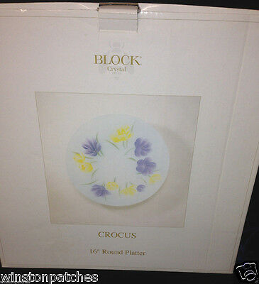 "BLOCK CRYSTAL CROCUS 16"" ROUND PLATTER FLOWERS FROSTED GLASS IN ORIGINAL BOX"