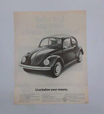 VINTAGE 1970 VTG VW ADVERTISING POSTER Volkswagen Beatle Live Below Your Means