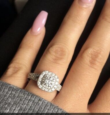Vera Wang Love Collection 1-1/2 CT. Diamond Frame Split Shank Engagement Ring