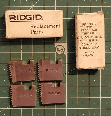 6 Sets Of Ridgid Pipe Dies For Drop Head Threader 12