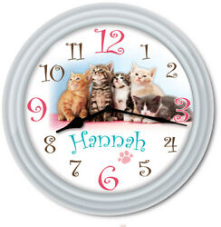Kittens Cat PERSONALIZED Wall Clock - Paw Print Kids Girls Bedroom Decor - GIFT