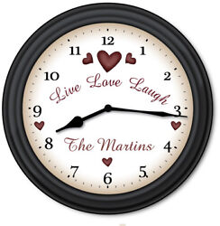 Live Love Laugh Family PERSONALIZED Wall Clock - Primitive Country Decor - GIFT