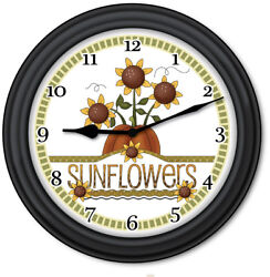 Sunflower Wall Clock - Primitive Country Home Decor Kitchen Cottage - GREAT GIFT