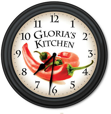 Chili Pepper Kitchen PERSONALIZED Wall Clock - Cooking Chef Home Decor - GIFT Pepper Kitchen Decor