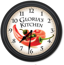 Chili Pepper Kitchen PERSONALIZED Wall Clock - Cooking Chef Home Decor - GIFT