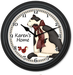 Country Cat PERSONALIZED Wall Clock - Kitchen Primitive Home Decor - GREAT GIFT