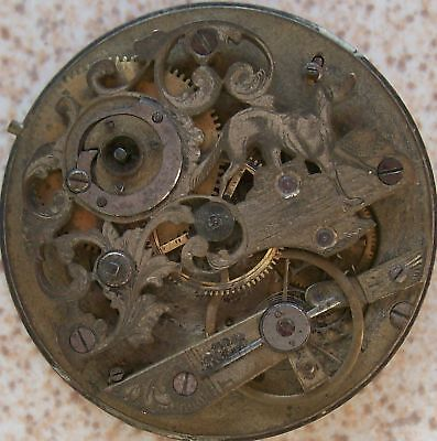 Old & Rare Pocket watch movement Carved with Calendar 47,5 mm key wind