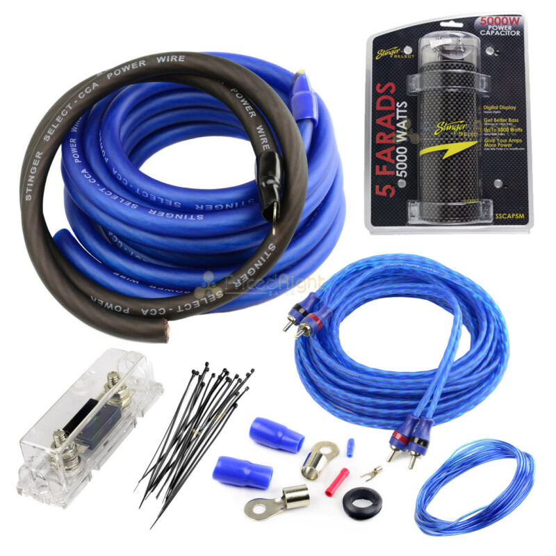 Stinger True 0 Gauge Amp Kit With 5 Farad Capacitor 1500 Watts Car Audio Kit Set