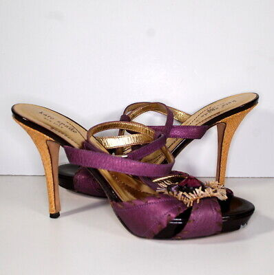 Kate Spade Purple Made in Italy T-Strap Heels Sz 9 Stone Embellished Leather