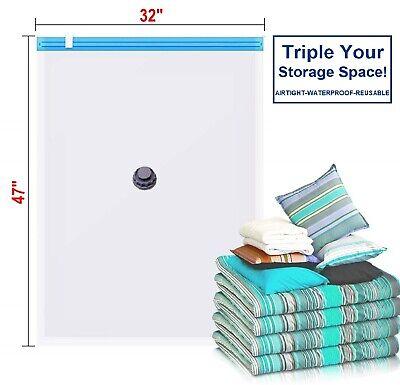 8 PACK Jumbo Extra Large Space Saver Vacuum Seal Storage Bag ZIPLOC Organizer XL ()