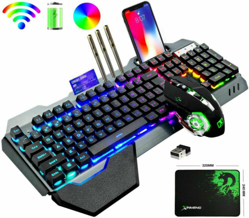 US Wireless Gaming Keyboard +Mouse,Rainbow Backlit Rechargeable Keyboard Mouse