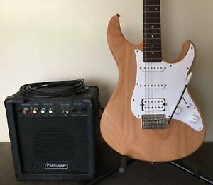 Yamaha Pacifica HSS Strat Guitar, 20 Watt Amp Stand & Lead