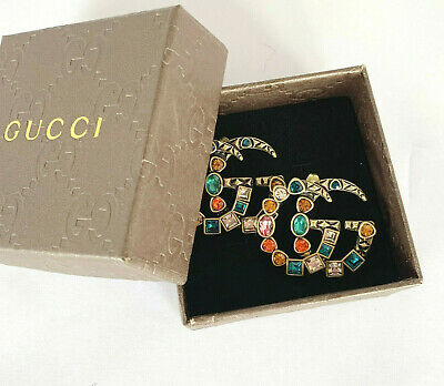 GUCCI Antique Gold Finish Double G Multicolored Earrings