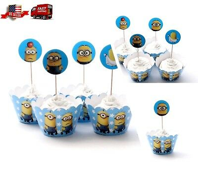 Minions Blue Kid's Cupcake Wrapper+Topper Kit Set of 1 Dozen - Cupcake Minions