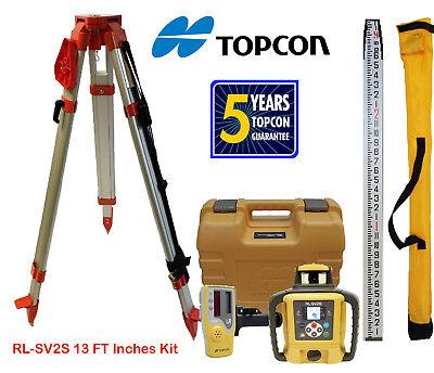 Topcon Rl-sv2s Db Dual Slope Self-leveling Rotary Laser Level Tripod Inch Rod