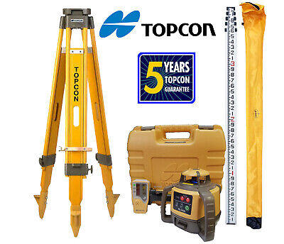 Topcon Rl-h5a Laser Level With Tp-10 Wood Tripod And 16 Ft Rod...