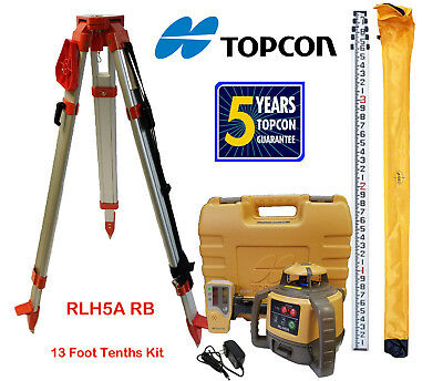 Topcon Rl-h5a Rb Rotary Laser Level Plus 13 Ft Aluminum 10ths Rod Tripod