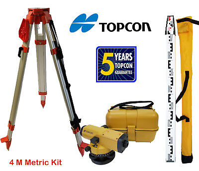Topcon At-b4a 24x Automatic Level With Tripod 4 Meter Aluminum Rod