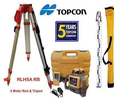 Topcon Rl-h5a Rb Rotary Laser Level Plus 4 Meter Aluminum E Scale Rod Tripod