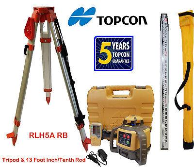 Topcon Rl-h5a Rb Rotary Laser Level Plus 13 Foot Dual Tenthsinch Rod Tripod