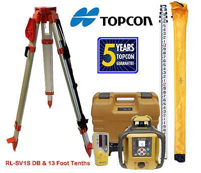 Topcon Rl-sv1s Db Single Slope Self-leveling Laser Level Tripod Rod - Tenths