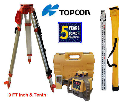 Topcon Rl-h5a Db Rotary Laser Level Plus 9 Ft Combo Inch Tenths Rod Tripod