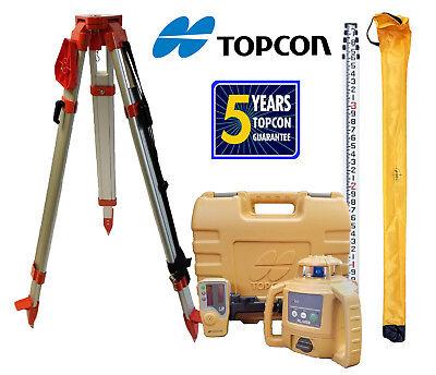 Topcon Rl-h5b Db Laser Level Plus Aluminum Tripod 13 Ft Tenths Rod