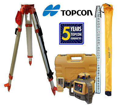 New Topcon Rl-h5a Db Rotating Laser Level - Plus 13 Ft 10thsinch Rod Tripod