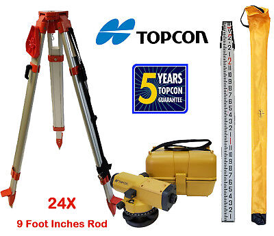 Topcon At-b4a 24x Automatic Level With Tripod 9 Foot Rod Inches