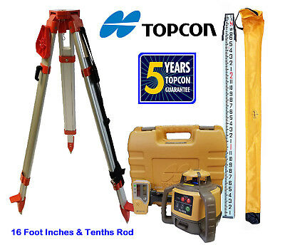 New Topcon Rl-h5a Rotary Laser Level With Tripod And 16 Foot Rod - Inch Tenth